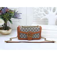"Samplefine2 ""GUCCI"" new texture retro chain shoulder bag wild Messenger small square bag Brown"