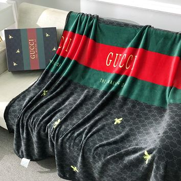 GUCCI Hot Sale Full Printed Retro Blanket D Home Coral Fleece Thickening Blanket Adult Single Bed Blanket From keniii