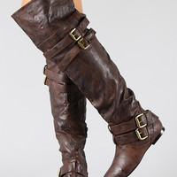 Buckle Slouchy Riding Over-The-Knee Boots