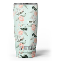 The Vintage Mint Floral Hummingbird - Skin Decal Vinyl Wrap Kit compatible with the Yeti Rambler Cooler Tumbler Cups