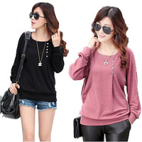 European Autumn Winter Elegant Woman's Tops O-Neck Long Batwing Sleeve Shirt Women Blouse With Button 3 colors Tops