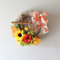 Sale-Fall Wreath, Autumn Wreath, Fall Decor, Cross Wreath, Sunflower, Door Wreath