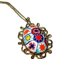 """Judy Lee Millifiori Glass Pendant 12 K Gold Filled Signed Gold Chain 17"""" Vintage"""