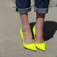Heels Women Shoes Pumps Stiletto Neon Yellow Sexy Party High Heels Shoes