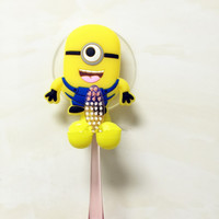 Hot Sale Cute minion Hello Kitty Cartoon suction cup toothbrush holder bathroom accessories 2 colors Free shipping