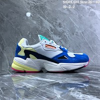 HCXX A715 Adidas Falcon W Retro Sports Breatthable Running Shoes Blue Yellow Pink