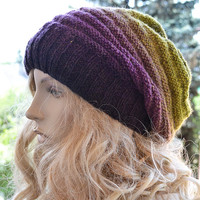 Knitted multicolor kauni lace beani cap/hat brown,orange,red