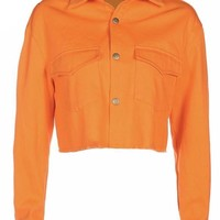 Orange Cropped Button Down Jacket