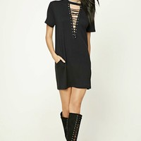 Lace-Up Shift Dress