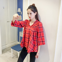 New Fashion  Korean style Summer Plus Size Flare Sleeve Blouse V-Neck Red Plaid Shirt Sexy Casual Blusas Women Tops 72518 GS