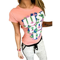 Women Short Sleeve Casual Print Letter Autumn t Shirt Sexy Tops Femmes Tees Cotton White Pink Women's tshirts Clothing