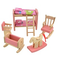 Wooden Doll Bunk Bed Set Furniture Dollhouse Miniature for Kids Child Educational Toy Pretend Play Wooden Toy Girl Birthday Gift