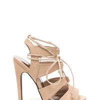 Snake It Off Strappy Lace-Up Heels