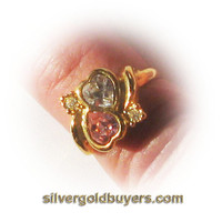 Ladies Pink and Crystal Color Heart Shaped Fashion Ring