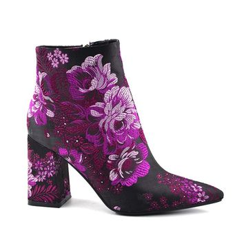 Nina Silk Embroidered Short Boots