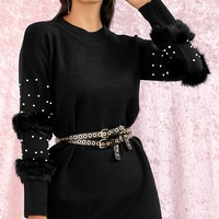 Commitment Issues Black Feather Bead Long Sleeve Round Neck Sweater Casual Mini Dress