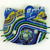 Hello Kitty Magnet green blue yellow  Made from Brisk soda can - soda can magnet - unique gift for him - unique gift for her - teen gift