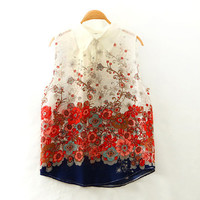 Floral Print Sleeveless Collared Blouse