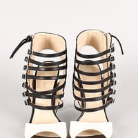 Wild Diva Lounge Adele-130 Two Tone Strappy Caged Cut Out Open Toe Heel