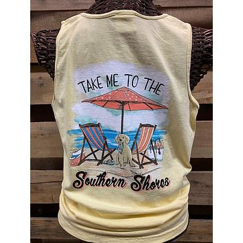 Southern Chics Apparel Take Me to the Southern Shores Dog Beach Comfort Colors Girlie Bright T Shirt Tank Top
