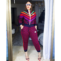 GUCCI Women Casual Round Collar Top Pants Set Two-Piece