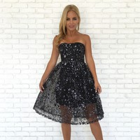 Sparkle On Babydoll Midi Dress