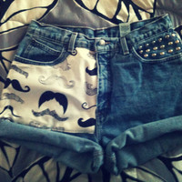 Mustache Studded High Waist Shorts