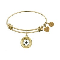 Non-Antique  Stipple Finish Brass With Enamel Soccer Mom Angelica Bangle, 7.25 Inches Adjustable