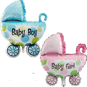 Baby Stroller Foil Balloons Baby Shower Baby Carriage Boy & Girl Balloon Inflatable Toys Children Birthday Party Decorations