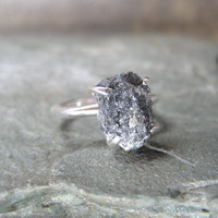 Three Carat Rough Diamond Solitaire and Sterling by ASecondTime