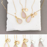 Natural Crystal Necklace Gift for Her • Sparkling Pink Druzy Necklace with Personalized option • LN717