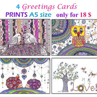 Funny Love Cards, Valentines Day gift Art Cards, Girlfriend Cute gift cards, Mother day gift, OOAK Unique cards A5 size, Miniature art print