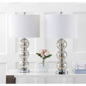 """Bella 27"""" Glass Triple-Sphere LED Table Lamp, Mercury Silver/Chrome (Set of 2) by JONATHAN Y 