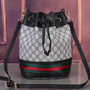 GUCCI Women Leather Tote Crossbody Satchel Shoulder Bag