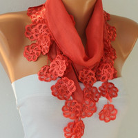 ON SALE - 50% OFF - Women Scarf  - Cotton Scarf -  Cowl Scarf  with Lace  Edge - Red