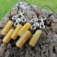 Yellow Jade Earrings, Gemstone Jewelry, Silver Spiral Chandelier Dangle Earrings Handmade Earrings, Sunny Yellow Jade Earrings