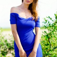 Blue off shoulder dress with sweetheart neckline