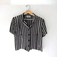 vintage 90s cropped top. striped short sleeve shirt. button up blouse