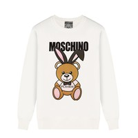 Moschino Women's casual wild rabbit front and rear printed round neck long-sleeved sweater