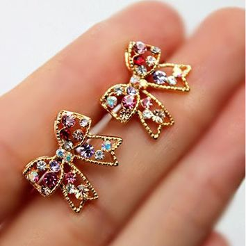 Sparkly Bow and Colorful Rhinestone Earrings