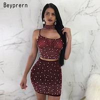 Beyprern Sexy Spaghetti Strap Rhinestone Pearl Choker Set Two Pieces Sparkly Pearl Details Back Straps Mini Dress Night Out Wear