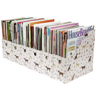 Evelots Lot of 6 Dog Design Magazine/File Holders Bins Folders With Labels