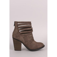 Vegan Suede Booties with a Chunky Heel