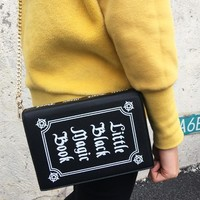 The Little Black Magic Book Clutch Crossbody Handbag