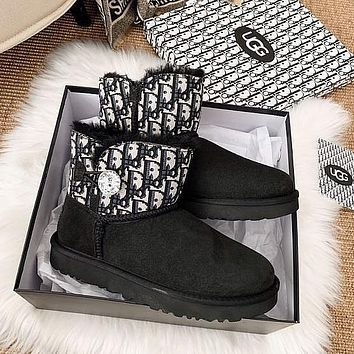 UGG x Dior CD joint short tube waterproof and ski boots shoes winter thick rhinestone buckle cotton shoes