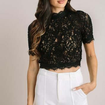 Olivia Black Lace Crop Top