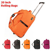 High Quality 20 inch silent wheels rolling luggage waterproof duffle bags travel trolley boarding bag with a lock large 5 colors