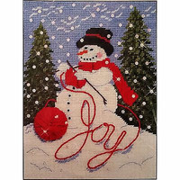 Knitting Snowman Plastic Canvas Kit 13 x 18 in Mary Maxim 17876 Christmas c1247