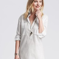 Banana Republic Womens Soft Wash Roll Up Popover Shirt