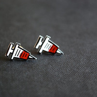 Nurse Shot Studs -- Earrings, Shots, Needles, Red and Black, Ouch!